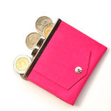 Pink leather purse Royalty Free Stock Photo