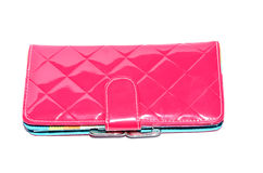 Pink leather purse Stock Images