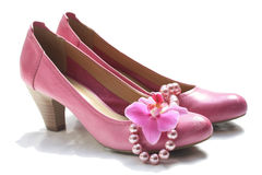 Pink leather shoes Royalty Free Stock Image