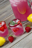 Pink Lemonade with Fruit Stock Photo