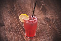 Pink lemonade in glass with straw Stock Images