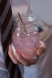 Pink Lemonade Mason Jar Royalty Free Stock Image