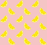 Pink Lemonade Seamless Vector Pattern Tile. Yellow Lemon Half Slices Arranged on Pink Background. Lemonade Stand Picnic Party Decoration. Food Packaging Design Stock Photos