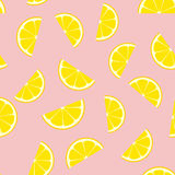 Pink Lemonade Seamless Vector Pattern Tile. Yellow Lemon Half Slices Randomly Arranged on Pink Background. Lemonade Stand Picnic Party Decor. Food Packaging Royalty Free Stock Images