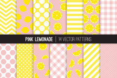 Pink Lemonade Seamless Vector Pattern Tile. Yellow and Pink Lemon Halves and Slices, Chevron, Stripes, Polka Dots and Gingham. Lemonade Stand Picnic Party Decor Royalty Free Stock Images