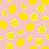 Pink Lemonade Seamless Vector Pattern Tile. Yellow Lemon Round and Half Slices Randomly Arranged on Pink Background. Lemonade Stand Picnic Party Decor. Food Stock Photo