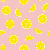 Pink Lemonade Seamless Vector Pattern Tile. Yellow Lemon Round and Half Slices Randomly Arranged on Pink Background. Lemonade Stand Picnic Party Decor. Food Royalty Free Stock Images