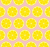 Pink Lemonade Seamless Vector Pattern Tile. Yellow Lemons Cut in Half into Round Slices Arranged on Pink Background. Lemonade Stand Picnic Party Decoration Stock Image