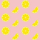 Pink Lemonade Seamless Vector Pattern Tile. Yellow Lemons Round Halves and Slices Arranged on Pink Background. Lemonade Stand Picnic Party Decoration. Food Stock Images