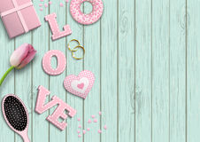 Pink letters LOVE, romantic motive, inspired by flat lay style, illustration royalty free illustration