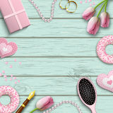 Pink letters LOVE, romantic motive, inspired by flat lay style, illustration Stock Photos