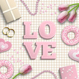 Pink letters LOVE, romantic motive, inspired by flat lay style, illustration Stock Photography