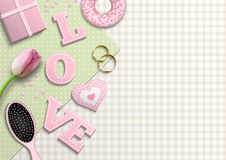 Pink letters LOVE, romantic motive, inspired by flat lay style, illustration vector illustration