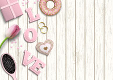 Pink letters LOVE, romantic motive, inspired by flat lay style, illustration Royalty Free Stock Photography
