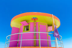 Pink Lifeguard House In Typical Architecture During Summer Day In Miami Beach, Florida, USA Stock Images