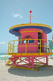 Pink lifeguard tower Stock Images