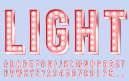 Pink lighting font. Alphabet letters with bulbs, retro numbers and bright bulb lights in letter 3d vector illustration vector illustration