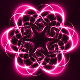 Pink Lights in the dark. Forming a flower. Computer generated abstract background Royalty Free Stock Photos