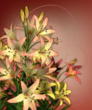 Pink Lilies. A bouquet of lilies in pink and yellow colors Stock Photography