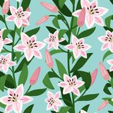 Pink lilies with leaves floral pattern. Pink lilies with greeen leaves floral pattern. Vector illustration Stock Photo
