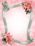 Pink lilies and ribbons border Stock Photo