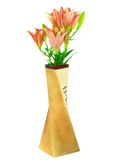 Pink liliesin vase on white background. Isolated. Royalty Free Stock Photo