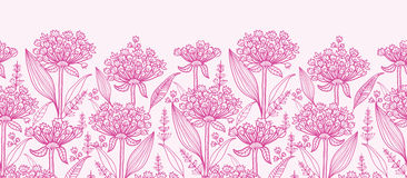 Pink lillies lineart horizontal border seamless. Vector pink lillies lineart horizontal border seamless pattern background with hand drawn elements royalty free illustration