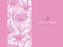 Pink lillies lineart horizontal seamless pattern Royalty Free Stock Image
