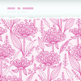 Pink lillies lineart horizontal torn seamless. Vector pink lillies lineart horizontal torn seamless pattern background with hand drawn elements vector illustration