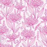 Pink lillies lineart seamless pattern background. Vector pink lillies lineart seamless pattern background with hand drawn elements royalty free illustration