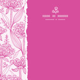 Pink lillies lineart square torn seamless pattern Stock Image