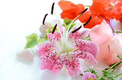 Pink lily in arrangement Stock Images