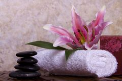 Pink lily flower on white towel and balanced rocks Stock Photos
