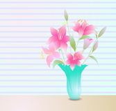Pink lily flowers background. Greeting or invitation card,  illustration Stock Photos