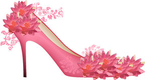 Pink lily flowers and shoe isolated on white Stock Photos