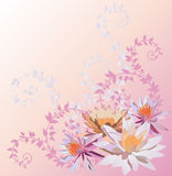 Pink lily and lotus flowers pattern Royalty Free Stock Photos