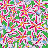 Pink lily of seamless pattern Stock Photo