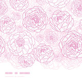 Pink line art flowers horizontal seamless pattern Stock Photography