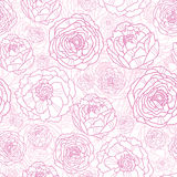 Pink line art flowers seamless pattern background Stock Photos
