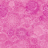 Pink lineart floral texture seamless pattern Stock Images