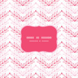 Pink lineart leaves chevron frame seamless pattern Royalty Free Stock Image