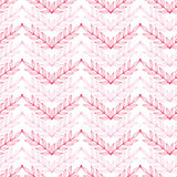Pink lineart leaves chevron seamless pattern Stock Photo