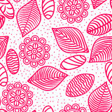 Pink lines flowers, leaves and stones seamless pattern Royalty Free Stock Image