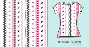 Pink lines and heart seamless pattern vector illustration, t shirt design, fabric texture, patterned clothing Stock Image