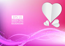 Pink lines wave and heart abstract background with copy space Stock Photo