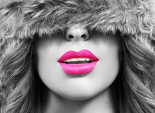 Pink lips and black and white Stock Photos