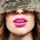 Pink lips and black and white Royalty Free Stock Photography