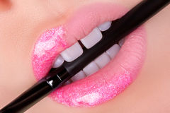Pink lips close-up. Stock Images