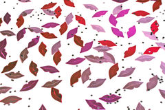 Pink lips confetti. Royalty Free Stock Photos