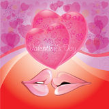 Pink lips with hearts,romantic background Stock Images